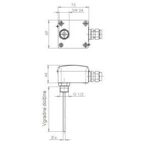 Modbus navojni uranjajući osjetnik temperature - ANDENTF-MD 2