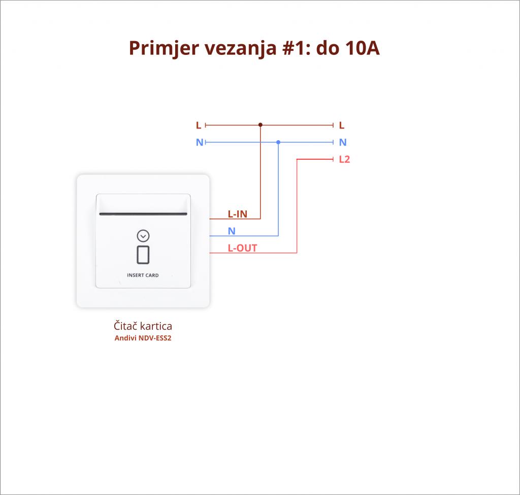 Odlagac kartica - Primjer vezanja 1 - do 10A