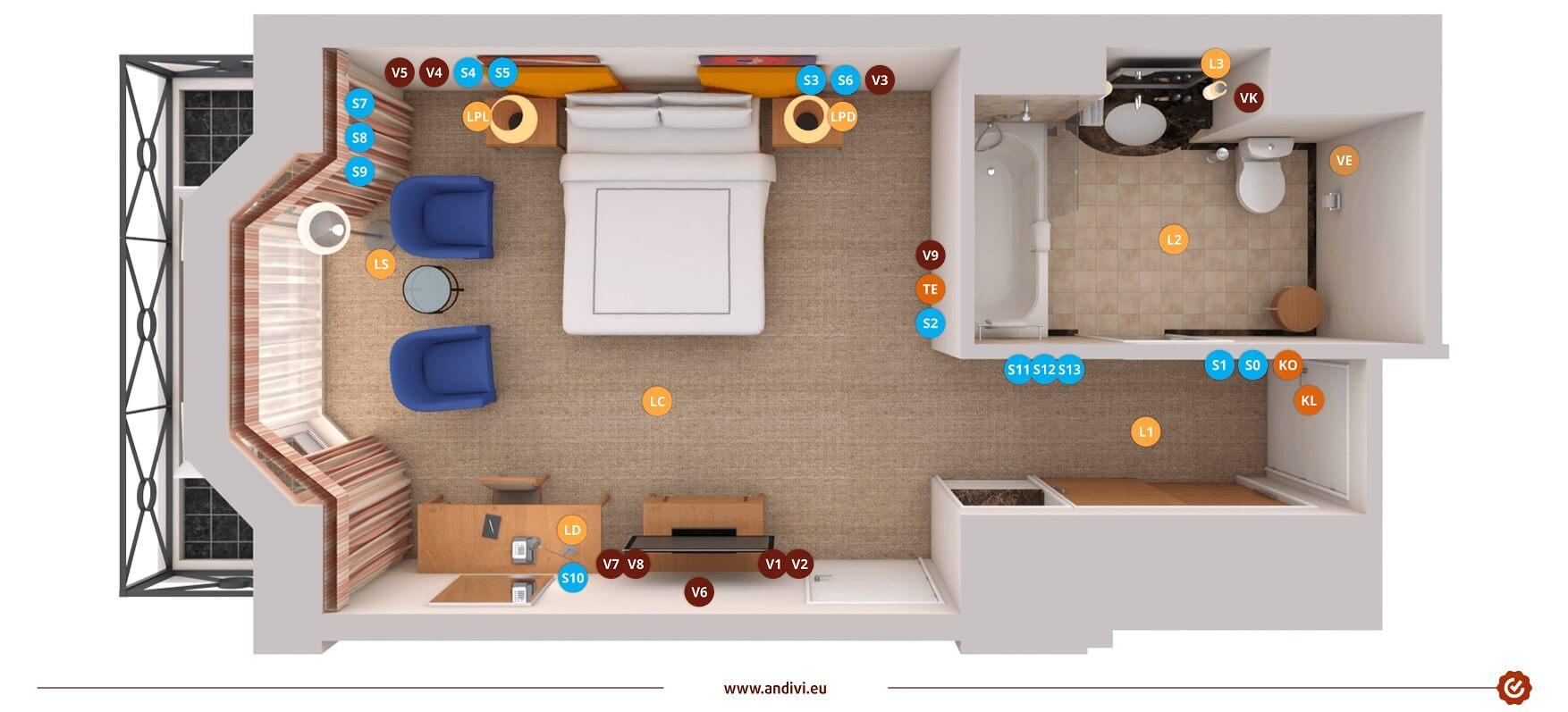 Hotelska Soba - Inteligentna soba - prekidaci - uticnice - rasvjeta - HR-slika