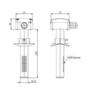 Modbus kanalski osjetnik za mjerenje ugljičnog dioksida - ANDKACO2-MD 2