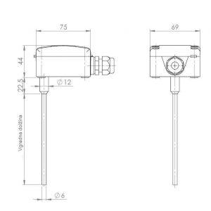 Modbus uranjajući kanalski osjetnik temperature - ANDKNTF-MD 2