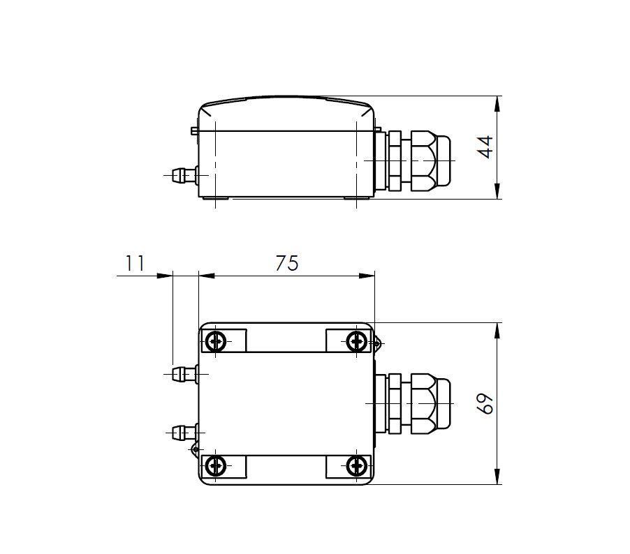 Modbus pretvarač diferencijalnog tlaka ANDDDMMD tehnička