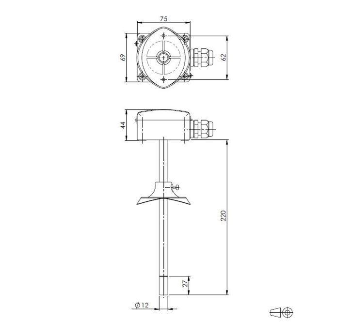 Kanalski senzor temperature i relativne vlažnosti ANDKFFTR-XS tehnička